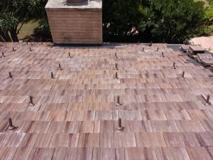 Cedar tile roof installation in Del Mar, CA, 92014