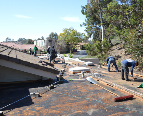 La Jolla, CA flet roof installation using torch down roofing